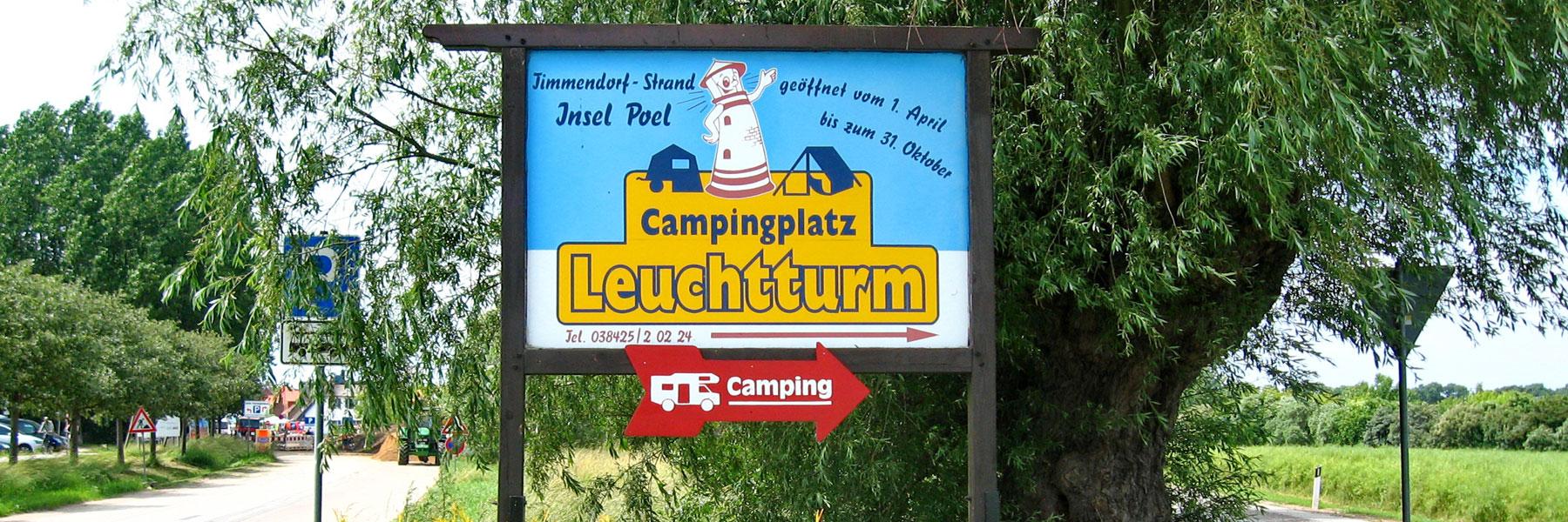 Hinweisschild - Campingplatz Leuchtturm