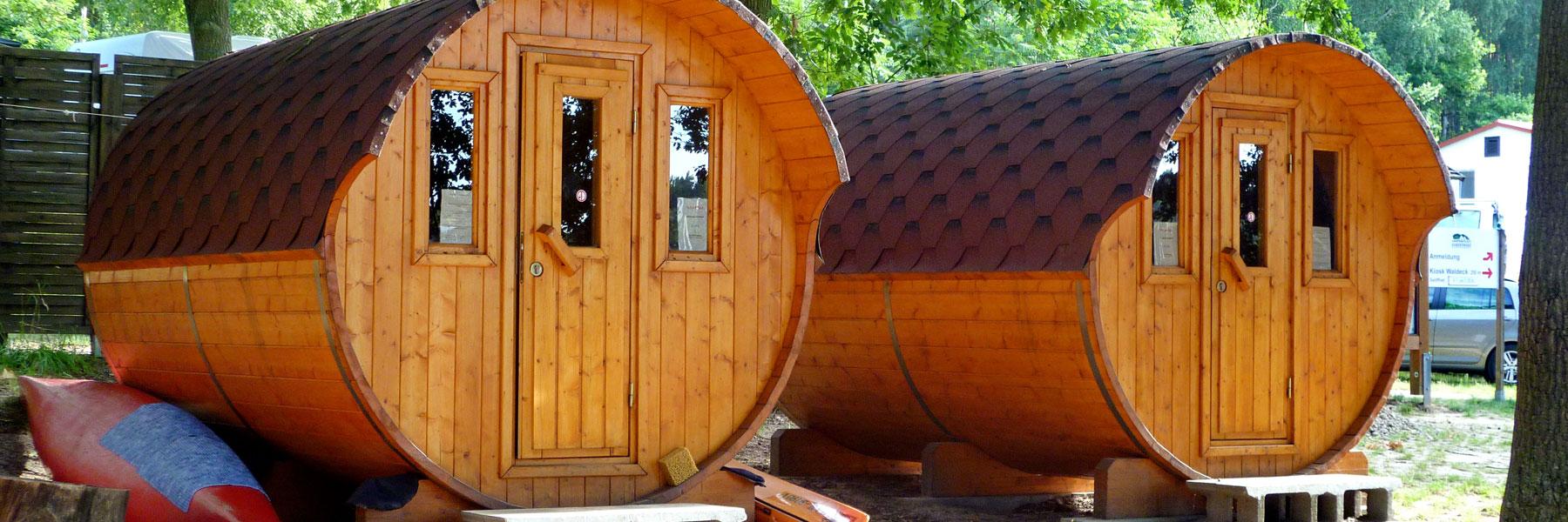 Schlaffässer - Campingplatz Am Gobenowsee