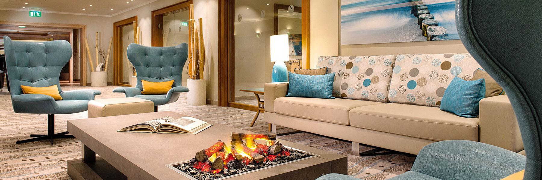 Lounge mit Kamin - Bernstein Hotel Prerow